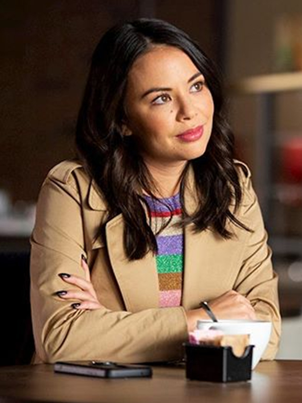 coat pretty little liars janel parrish the perfectionists double breasted coat cotton coat