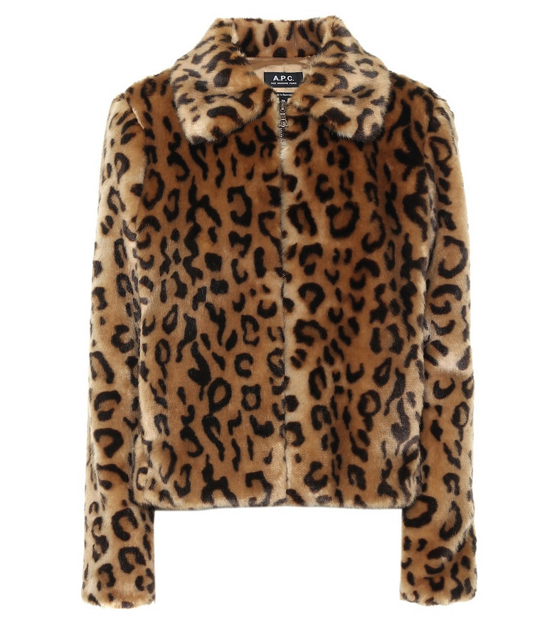 A.P.C. Margot leopard-print faux fur jacket in brown