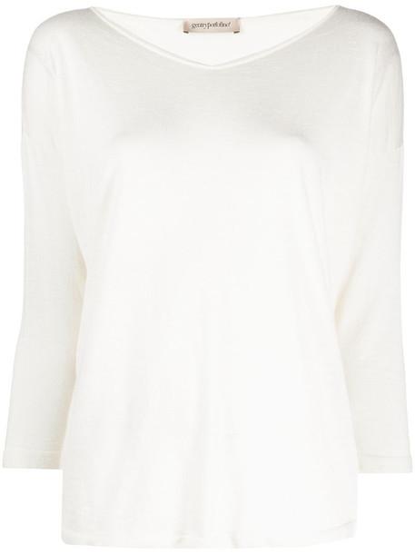 Gentry Portofino fine knit jumper in white