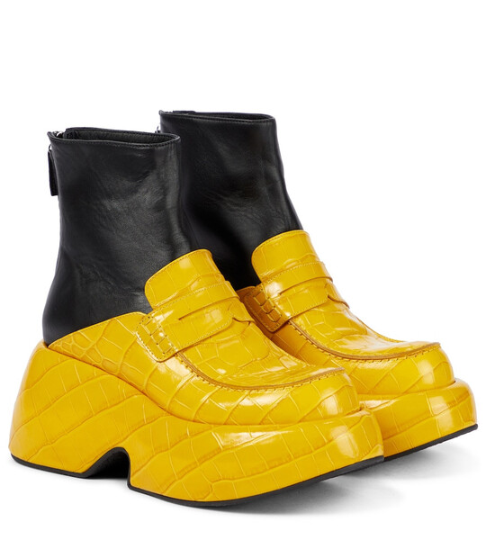 LOEWE Loafer-style leather ankle boots