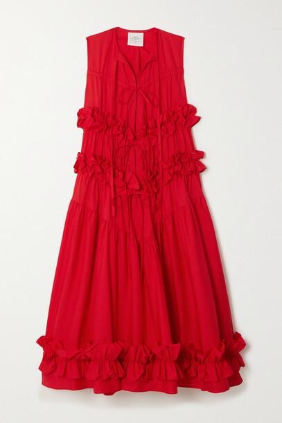 Renaissance Renaissance - + The Vanguard Petra Ruffled Cotton-poplin Midi Dress - Red