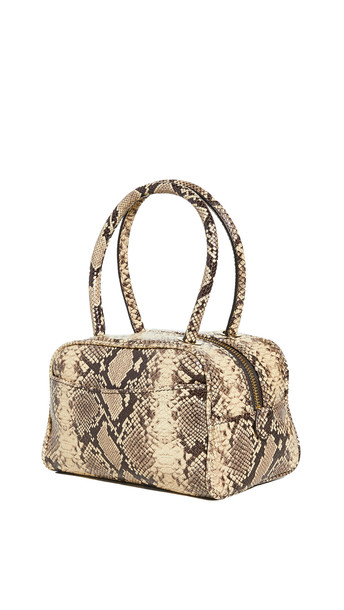 BY FAR Martin Mocha Snake Print Leather Bag