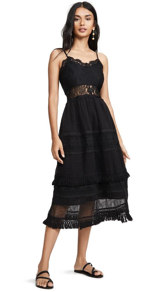Place Nationale La Marne Grid Lace Maxi Sun Dress in black