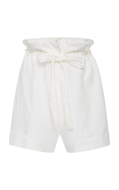 NILI LOTAN Mora Linen Shorts in white