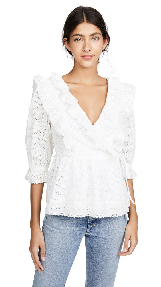 endless rose Frill Lace Wrap Blouse in white