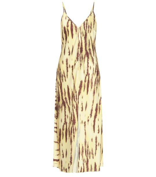 ROTATE BIRGER CHRISTENSEN Printed stretch-satin midi dress in yellow