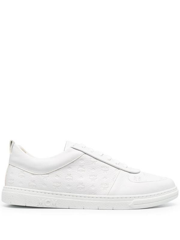 MCM embossed monogram sneakers in white
