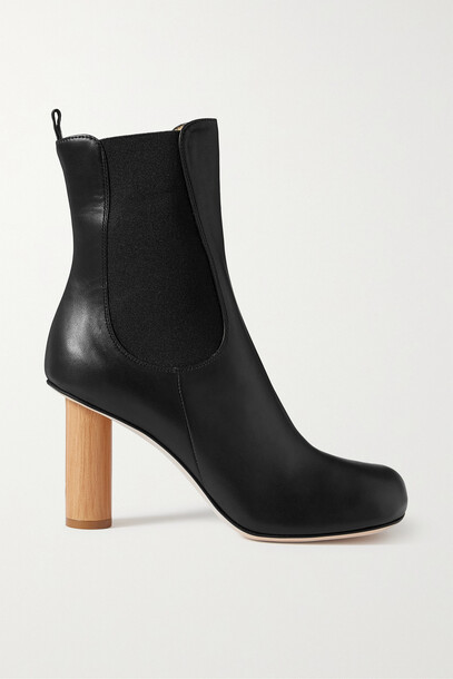 A.W.A.K.E. MODE - Ariana Leather And Wood Ankle Boots - Black