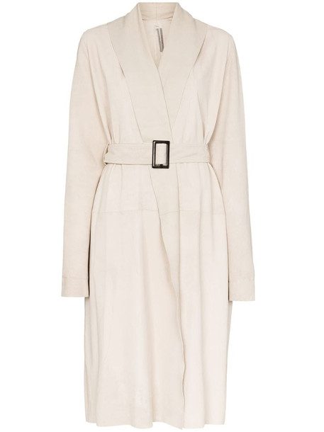 Rick Owens Mountain belted coat in white