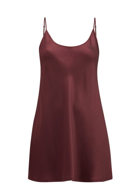 La Perla - Scoop Neck Short Silk Satin Slip Dress - Womens - Burgundy