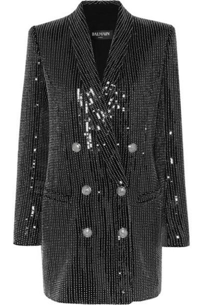 Balmain - Embellished Crepe Mini Dress - Black