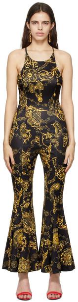 Versace Jeans Couture Black & Gold Baroque Regalia Print Jumpsuit in nero