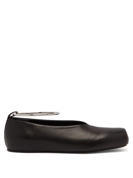 Jil Sander - Squared Leather Ballet Flats - Womens - Black