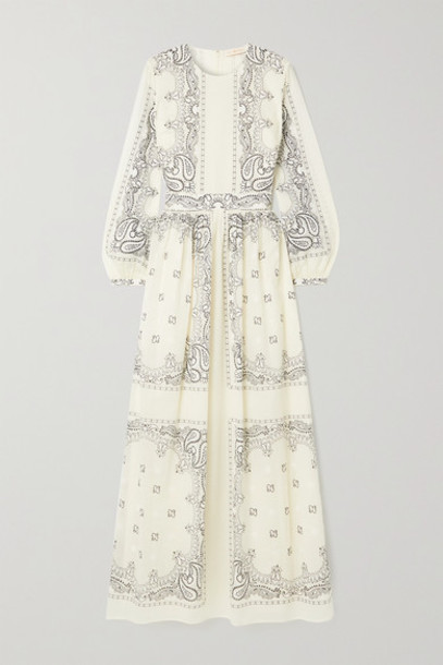 Tory Burch - Printed Cotton-voile Maxi Dress - Ivory