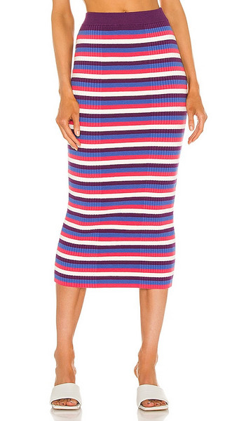Victor Glemaud Varigated Rib Skirt in Purple,White in blue / multi