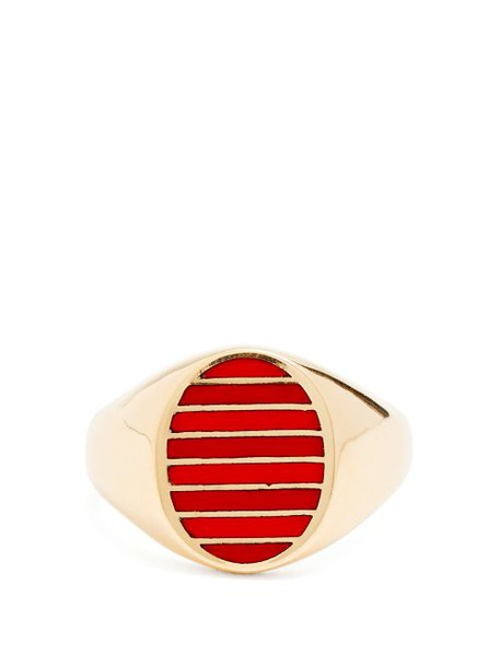 Jessica Biales - Enamel & Yellow Gold Ring - Womens - Red