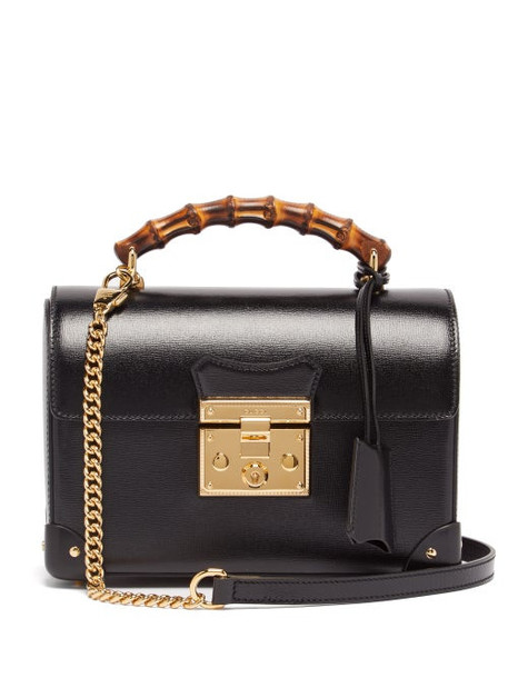 Gucci - Padlock Bamboo-handle Leather Handbag - Womens - Black