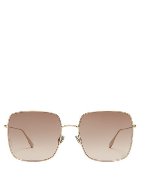 Dior Eyewear - Stellaire1 Square Metal Sunglasses - Womens - Brown