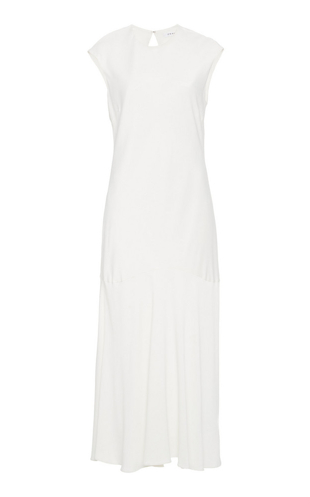 FRAME Cascade Crepe Midi Dress in white