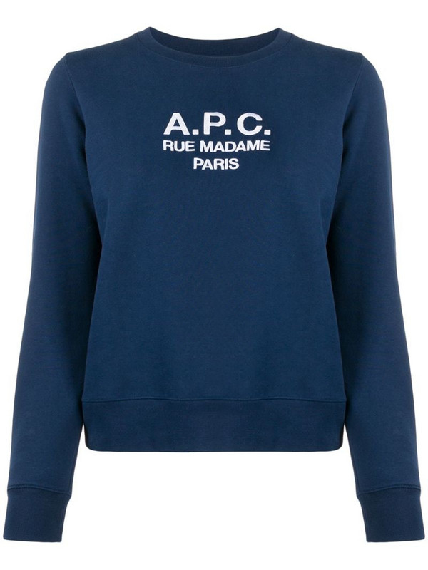 A.P.C. logo knitted top in blue