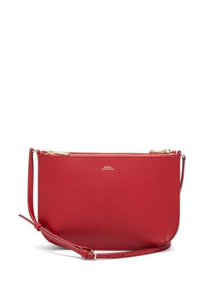 A.P.C. A.P.C. - Sarah Saffiano-leather Cross-body Bag - Womens - Dark Red