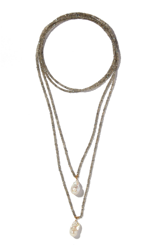 Joie DiGiovanni Labradorite And Pearl Lariat Necklace in grey