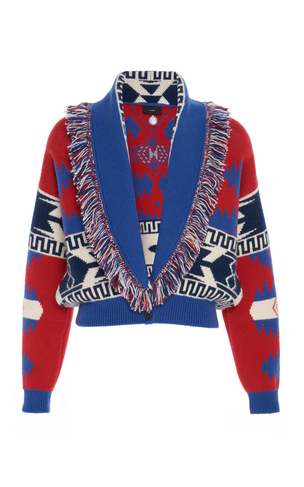 Alanui Icon Cashmere And Wool Jacquard Cropped Sweater in print
