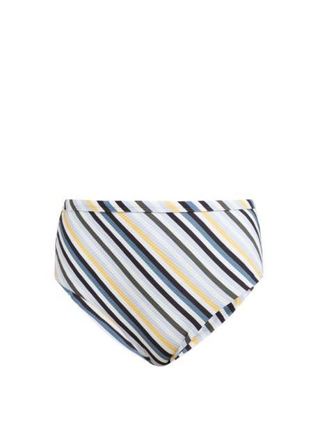 Asceno - Striped High Rise Bikini Briefs - Womens - Blue Stripe