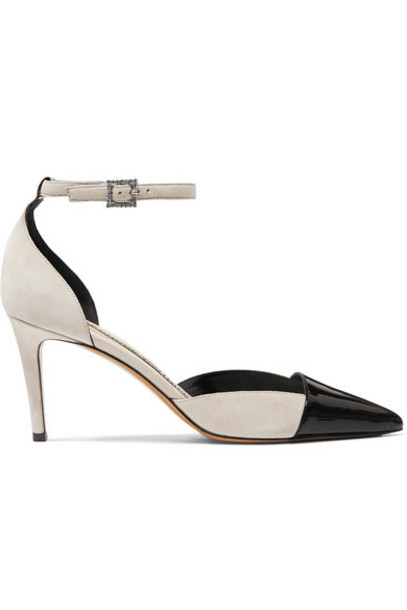 Alexandre Vauthier - Cindy Crystal-embellished Patent-leather And Suede Pumps - Beige