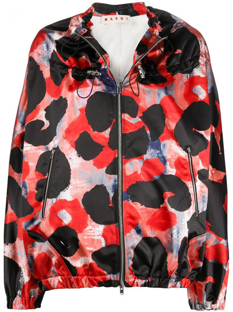 Marni abstract print drawstring windbreaker in red