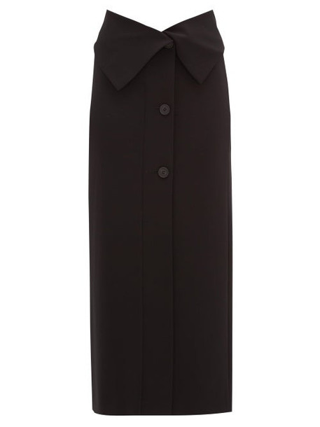 The Row - Folded-waist Stretch-jersey Midi Skirt - Womens - Black