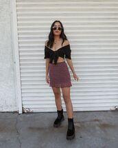 shorts,mini skirt,floral skirt,black boots,black top,crop tops