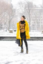 wendy's,lookbook,blogger,coat,top,jacket,jeans,bag,shoes,socks,winter outfits,faux fur coat,yellow coat