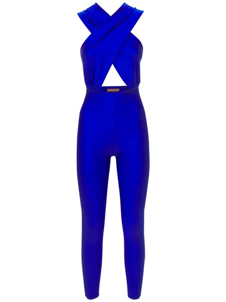 THE ANDAMANE Hola Shiny Halterneck Jumpsuit in blue