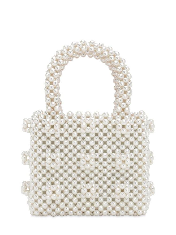 SHRIMPS Mini Antonia Beaded Top Handle Bag in cream