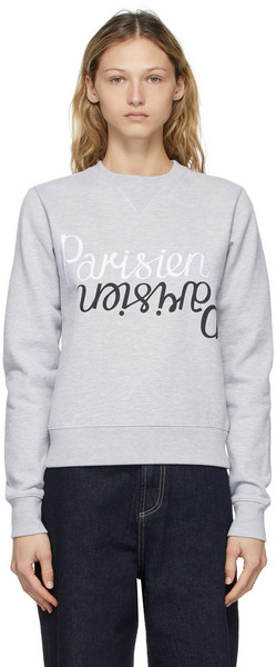 Maison Kitsuné Maison Kitsuné Grey Parisen Mirror Regular Sweatshirt