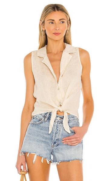 Bella Dahl Sleeveless Tie Front Top in Beige in khaki