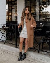 coat,brown coat,mango,black boots,ankle boots,mini dress,black bag