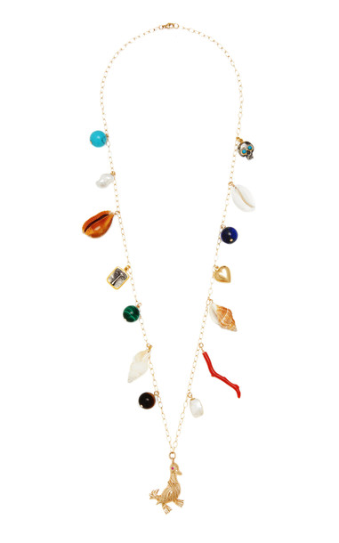 Haute Victoire Multi-Stone 14K Yellow Gold Charm Necklace