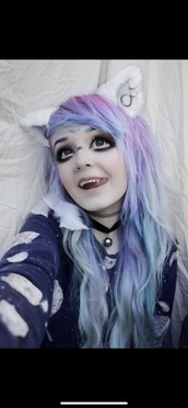 hair accessory,white,ears,cat ears,pastel goth,furry hat,furry headband
