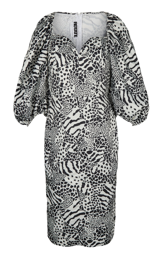 ROTATE Irina Blouson Sleeve Printed Dress in black