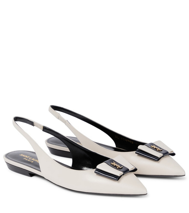 Saint Laurent Anais leather slingback flats in white
