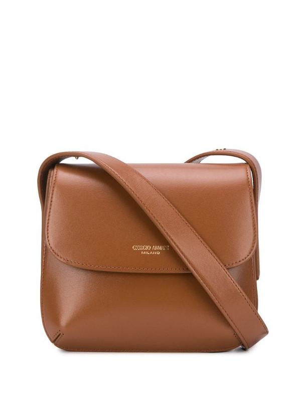 Giorgio Armani logo stamp shoulder bag in brown