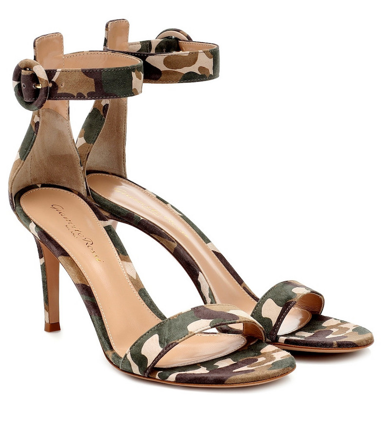 Gianvito Rossi Portofino 85 suede sandals in green