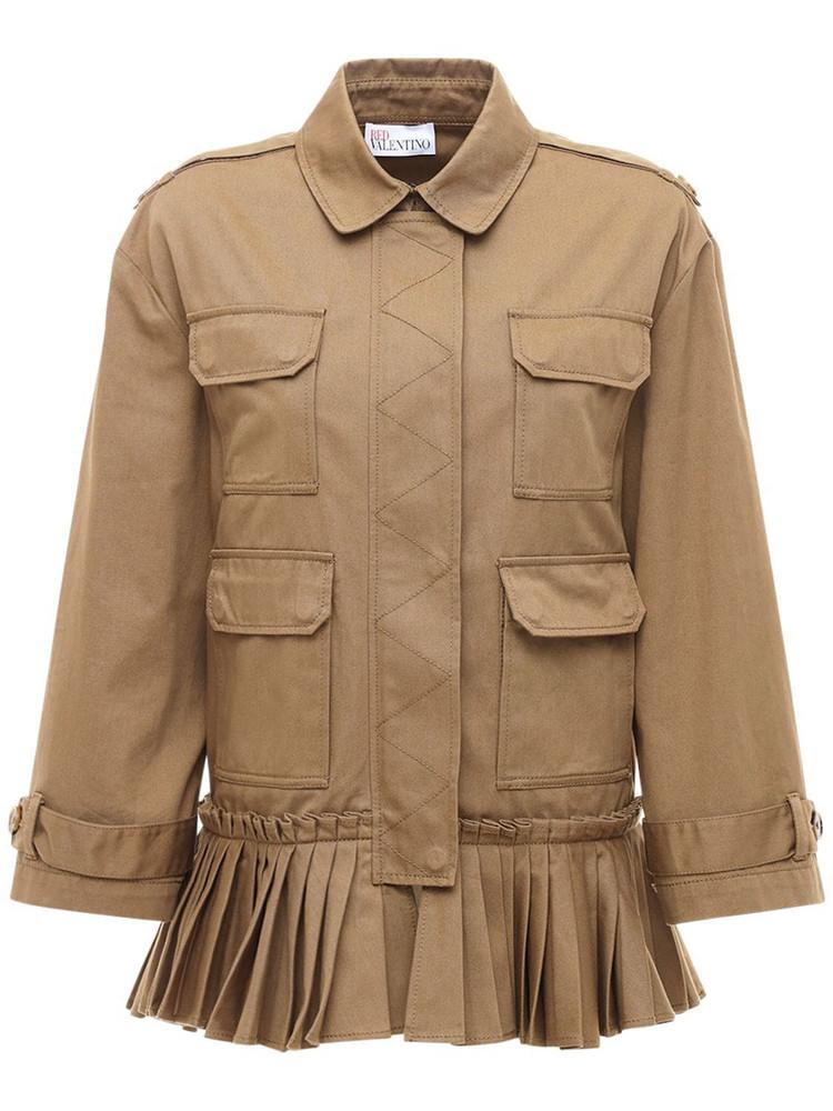 RED VALENTINO Ruffled Gabardine Caban Jacket in brown