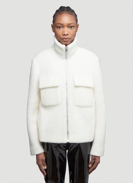 Helmut Lang Teddy Faux-Fur Jacket in White size XS