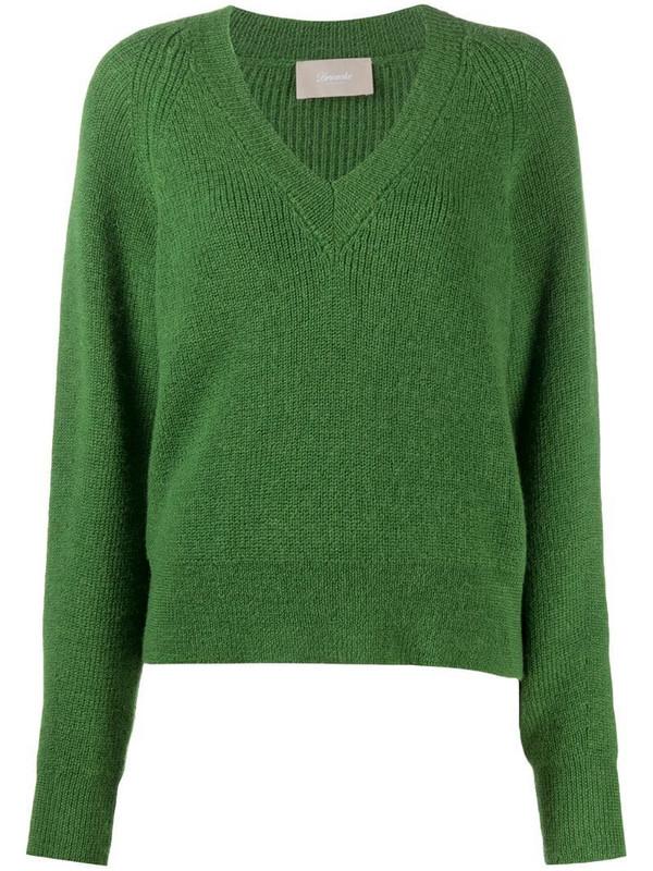 Drumohr v-neck knitted jumper in green