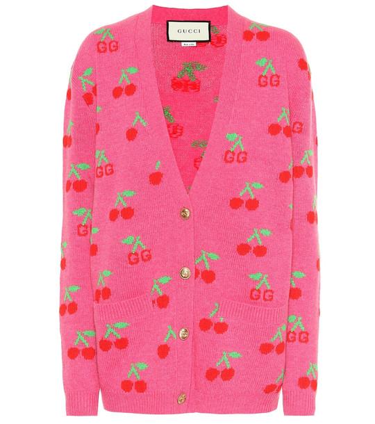 Gucci GG cherry jacquard wool cardigan in pink