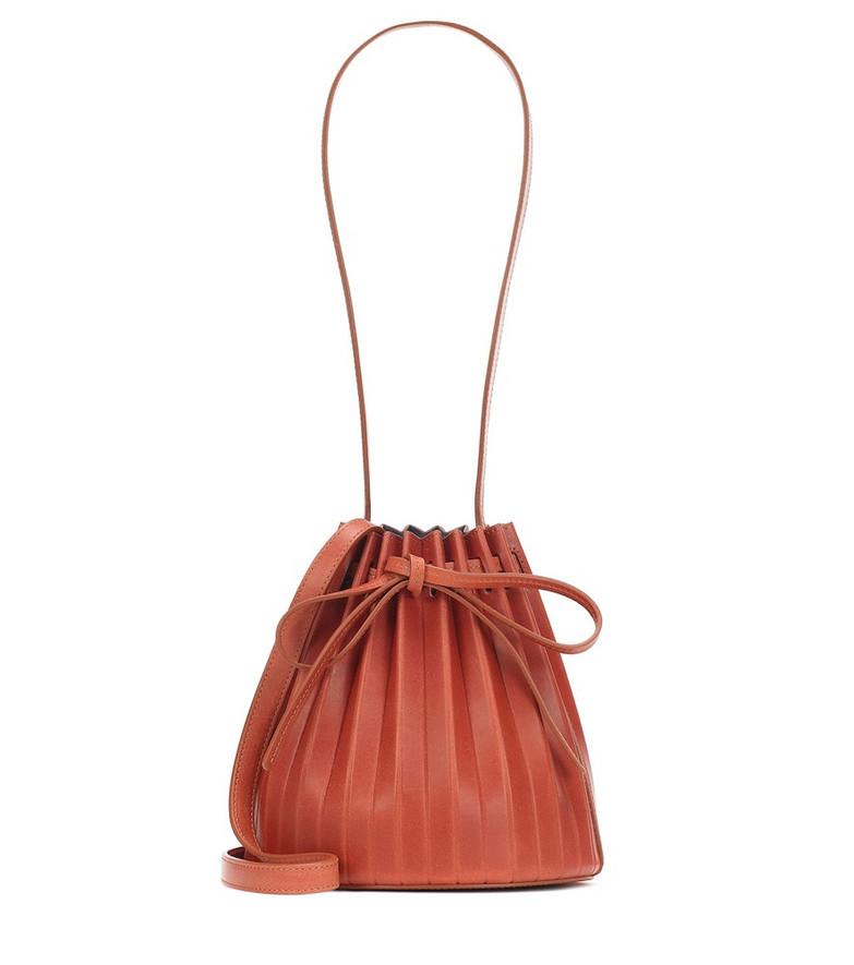 Mansur Gavriel Pleated Bucket leather crossbody bag in brown