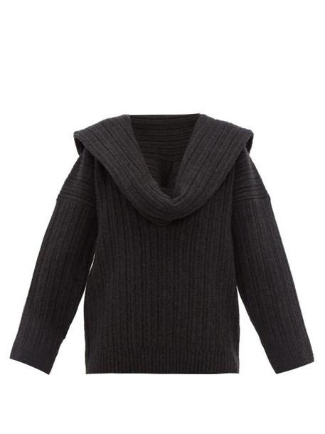 Jacquemus - Ahwa Draped Scarf Neckline Wool Blend Sweater - Womens - Dark Grey
